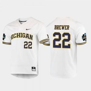 #22 Jordan Brewer Michigan Wolverines Men 2019 NCAA Baseball College World Series Jersey - White