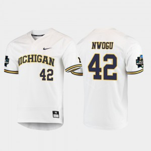 #42 Jordan Nwogu Michigan Wolverines 2019 NCAA Baseball College World Series Men's Jersey - White