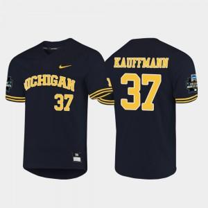 #37 Karl Kauffmann Michigan Wolverines 2019 NCAA Baseball College World Series Mens Jersey - Navy