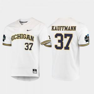 #37 Karl Kauffmann Michigan Wolverines Men 2019 NCAA Baseball College World Series Jersey - White