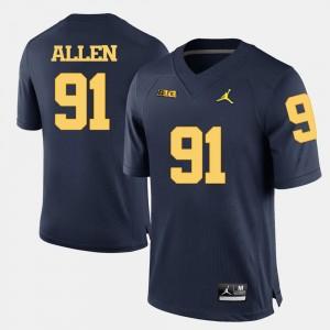 #91 Kenny Allen Michigan Wolverines College Football Men Jersey - Navy Blue
