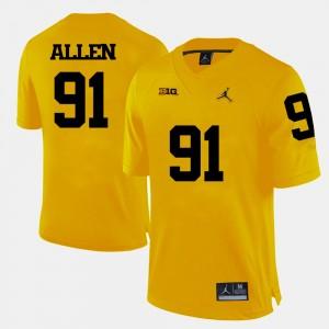 #91 Kenny Allen Michigan Wolverines College Football Men Jersey - Yellow