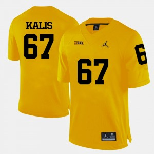 #67 Kyle Kalis Michigan Wolverines College Football For Men Jersey - Yellow
