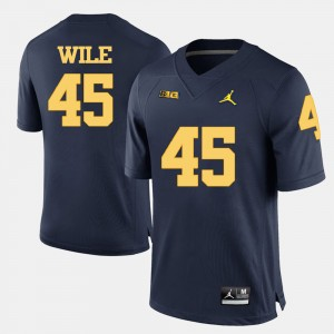 #45 Matt Wile Michigan Wolverines College Football For Men's Jersey - Navy Blue