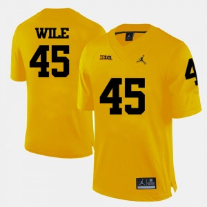#45 Matt Wile Michigan Wolverines College Football Men's Jersey - Yellow