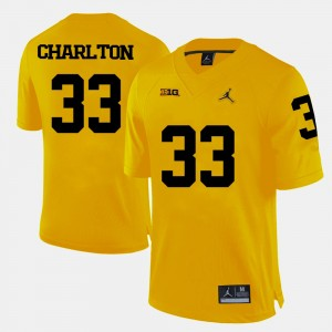 #33 Taco Charlton Michigan Wolverines College Football Men's Jersey - Yellow
