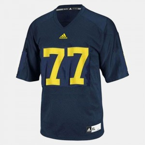 #77 Taylor Lewan Michigan Wolverines College Football For Men Jersey - Blue