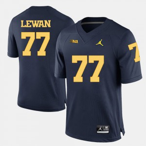 #77 Taylor Lewan Michigan Wolverines For Men's College Football Jersey - Navy Blue
