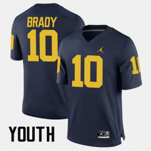#10 Tom Brady Michigan Wolverines Alumni Football Game Youth(Kids) Jersey - Navy