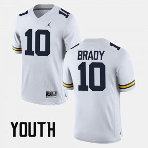 #10 Tom Brady Michigan Wolverines Kids Alumni Football Game Jersey - White