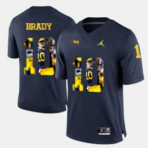 #10 Tom Brady Michigan Wolverines Player Pictorial Men's Jersey - Navy Blue
