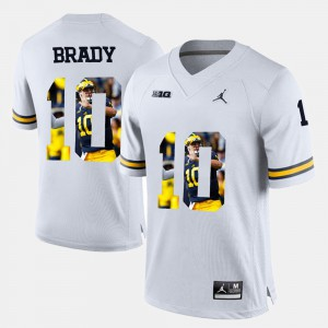 #10 Tom Brady Michigan Wolverines Player Pictorial Men's Jersey - White