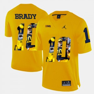 #10 Tom Brady Michigan Wolverines Men's Player Pictorial Jersey - Yellow