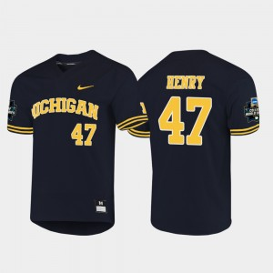 #47 Tommy Henry Michigan Wolverines 2019 NCAA Baseball College World Series For Men Jersey - Navy