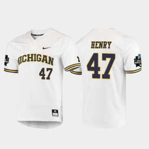 #47 Tommy Henry Michigan Wolverines 2019 NCAA Baseball College World Series Men's Jersey - White