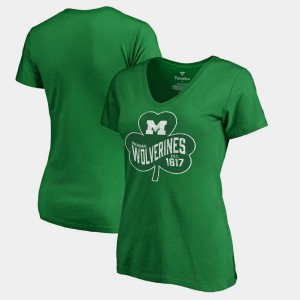 Michigan Wolverines Women's St. Patrick's Day Paddy's Pride Fanatics T-Shirt - Kelly Green