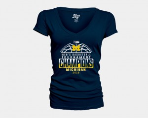 Michigan Wolverines Basketball Conference Tournament Women's V-Neck 2018 Big Ten Champions Locker Room T-Shirt - Navy