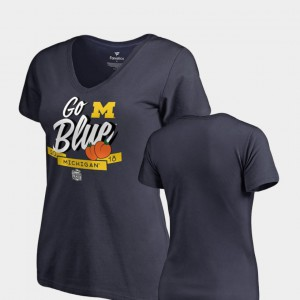 Michigan Wolverines Dime V-Neck 2018 Peach Bowl Bound For Women's T-Shirt - Navy