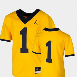#1 Michigan Wolverines College Football Team Replica For Kids Jersey - Maize
