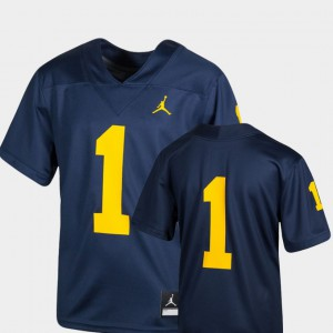 #1 Michigan Wolverines Youth College Football Team Replica Jersey - Navy