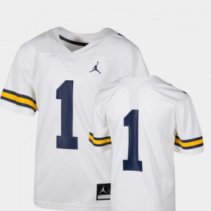 #1 Michigan Wolverines Team Replica College Football Youth Jersey - White