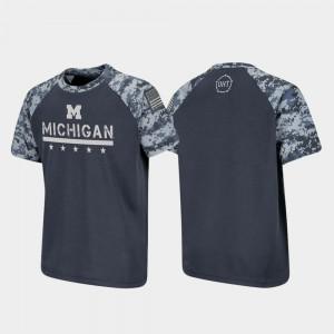 Michigan Wolverines OHT Military Appreciation Raglan Digital Camo Kids T-Shirt - Charcoal