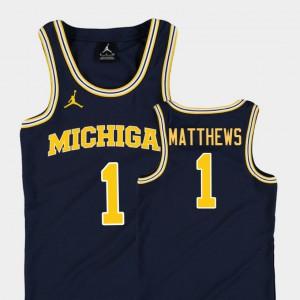 #1 Charles Matthews Michigan Wolverines Replica Kids College Basketball Jordan Jersey - Navy