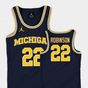 #22 Duncan Robinson Michigan Wolverines Kids College Basketball Jordan Replica Jersey - Navy