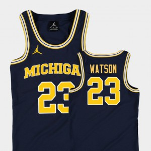 #23 Ibi Watson Michigan Wolverines College Basketball Jordan Replica For Kids Jersey - Navy