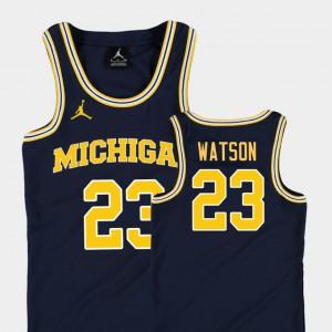 #23 Ibi Watson Michigan Wolverines College Basketball Jordan Replica For Kids Jersey - Navy