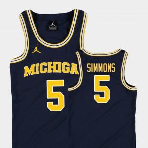 #5 Jaaron Simmons Michigan Wolverines College Basketball Jordan Replica Youth Jersey - Navy
