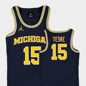 #15 Jon Teske Michigan Wolverines Replica Kids College Basketball Jordan Jersey - Navy