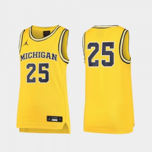 #25 Michigan Wolverines Replica Kids Basketball Jersey - Maize