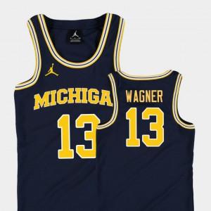 #13 Moritz Wagner Michigan Wolverines For Kids Replica College Basketball Jordan Jersey - Navy
