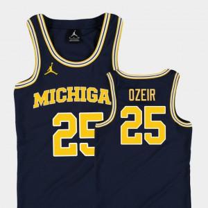 #25 Naji Ozeir Michigan Wolverines Replica For Kids College Basketball Jordan Jersey - Navy
