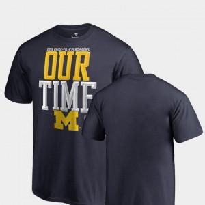 Michigan Wolverines 2018 Peach Bowl Bound Counter Youth(Kids) T-Shirt - Navy