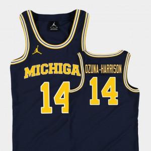 #14 Rico Ozuna-Harrison Michigan Wolverines College Basketball Jordan Replica Kids Jersey - Navy