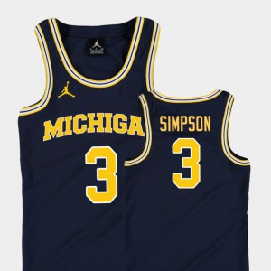 #3 Zavier Simpson Michigan Wolverines Kids Replica College Basketball Jordan Jersey - Navy
